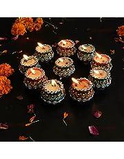 TIED RIBBONS Diwali Diya Set with Wax Handmade Terracotta Clay Diya for Pooja Room Mandir Temple Home Décor Oil Diya Lamp for Pooja Room (Pack of 10) - Diwali Decorations and Diwali Gifts