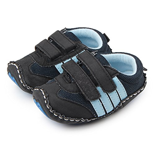 Lidiano Baby Toddler Sewing Nubuck Upper Non Slip Rubber Sole Sneakers Slippers Loafers Crib Shoes (6-12 Months, Deep Blue) - Image 5