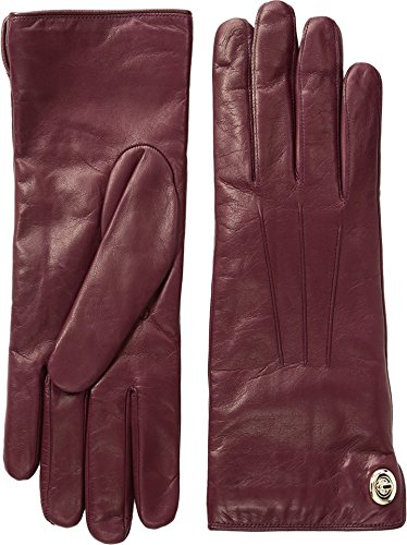 Womens Iconic Leather Gloves Burgundy