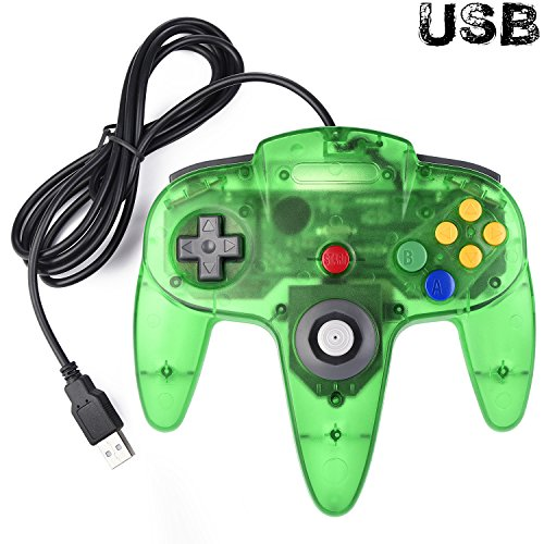 er, iNNEXT N64 Wired USB PC Game pad Joystick, N64 Bit USB Wired Game stick Joy pad Controller for Windows PC MAC Linux Raspberry Pi 3 Sega Genesis Higan (Jungle Green) ()