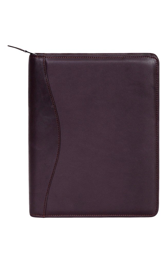 Scully Planner Soft Plonge Leather Zip Closure Brown 5014Z-11