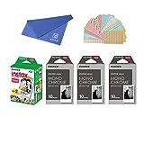 Fujifilm Instax Mini Instant Film 4-PACK BUNDLE SET , Twin Pack ( 20 ) + 3-SET Monochrome ( 30 ) + Original Cleaning Cloth + Stickers 20 pcs. for Mini 90 8 70 7s 50s 25 300 Camera SP-1 Printer