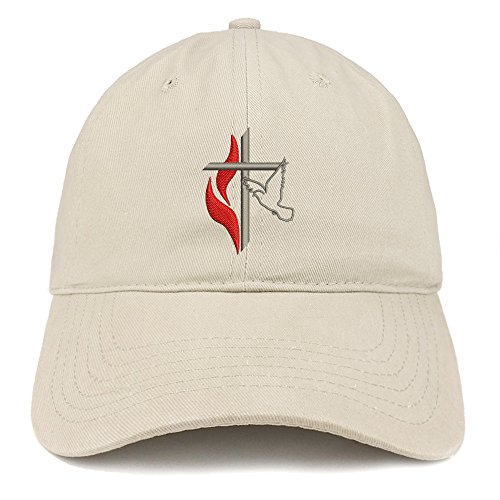 (Trendy Apparel Shop Methodist Cross and Dove Embroidered Brushed Cotton Dad Hat Ball Cap - Stone)