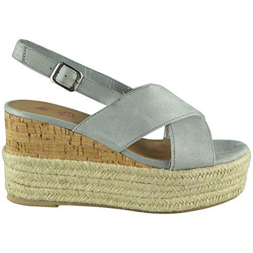 Cork Womens Shoes 8 Sandals Espadrilles Wedge 3 Ladies Platform Grey Size Hessian Strappy 5rwYaPRqgw