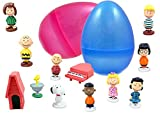 1 Jumbo Peanuts Toy Filled Easter Egg - Includes Charlie Brown, Snoopy, And Lucy - Prefilled Eggs Save You Time - Durable 6 Inch Glitter Egg in Bright Colors - Perfect For Hours of Imaginative Play
