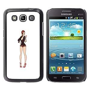 Caucho caso de Shell duro de la cubierta de accesorios de protección BY RAYDREAMMM - Samsung Galaxy Win I8550 I8552 Grand Quattro - White Babe Cleavage Pin Up