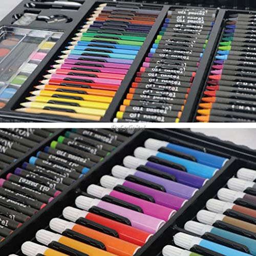 Deluxe Art Set,168Pcs Children's Drawing Painting Sketching Tools Set Watercolor Pen Crayon Oil Pastel Paint Brush Drawing Pen Color Pencil etc for Art Student Adult by cables (Image #3)