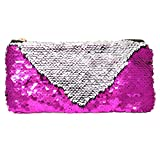 ICOSY Sequin Makeup Pouch Bag Mermaid Cosmetic Bag Reversible Sequin Pencil Case Glitter Handbag Makeup Pouch for Women Kids (Fuchsia/Silver)