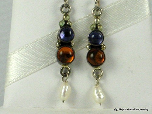 AMBER and Blue IOLITE EARRING in STERLING SILVER 925 and PEARL DROP