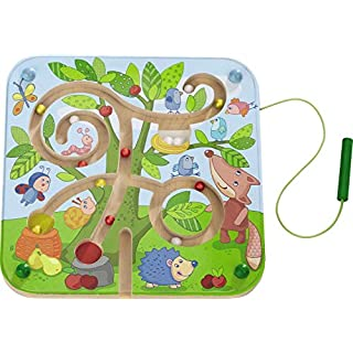 HABA Tree Maze Wooden Magnetic Game Develops Fine Motor Skills & Color Recognition with Attached Wand