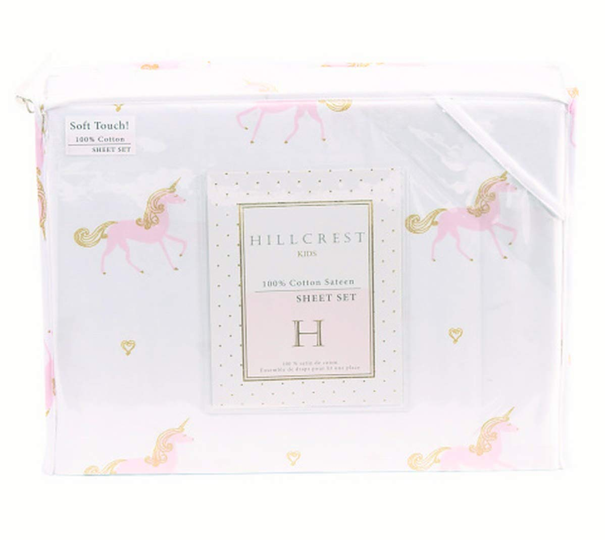 Hillcrest Kids Pastel Pink & Gold Unicorn Sheets for Girls in Cotton Sateen (Twin) by Hillcrest Kids