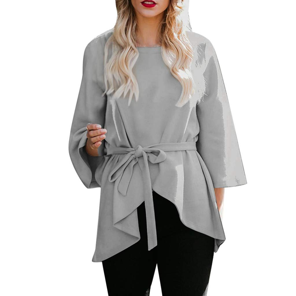 general3 Women 3/4 Bell Sleeve Shirt Self Tie Flare Sleeve Asymmetric Hem Work Business Office Tunic Blouse with Belt (Gray, X-Large) by general3