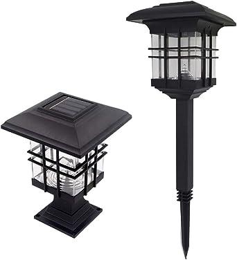 Farol solar de doble uso para jardín, camino, poste de luz, paisaje, luz solar para césped de Housesweet: Amazon.es: Iluminación