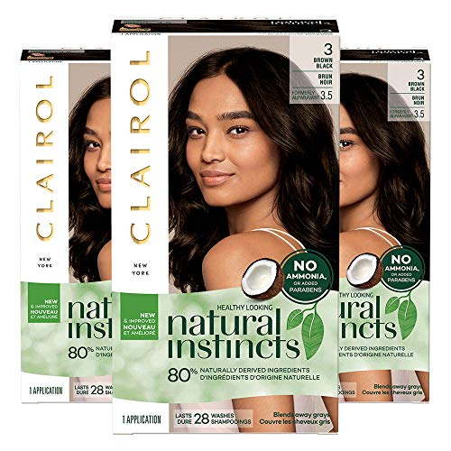 Clairol Natural Instincts Semi-Permanent, 3 Brown Black, Ebony Mocha, Pack of 3 (Good Hair Dye Colors For Dark Brown Hair)