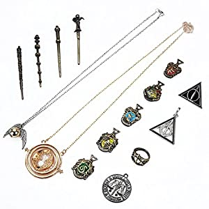 Harry Potter Magic Wand Set Hermione Dumbledore Kids Toys Magic Wands Stick with Keychain Necklace in Box