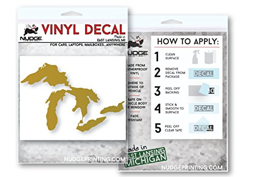 Nudge Printing The Great Lakes of Michigan Car Decal Sticker (Gold)