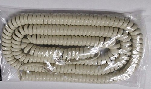 25' Foot Modular Telephone Coiled Handset Cord Ivory Replace