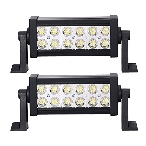 LED Light Bar, 2X 36W Spot Waterproof, Side Mount Spotlights Truck Lights Led Driving Light Fog Lights Off road Led Lights for ATV, SUV, Jeep, Boat, Trailer, Tractor, Truck,Snow Plow Pack of 2