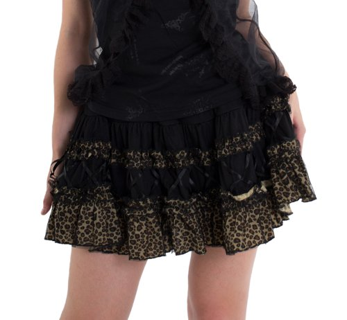 Punk Lolita Short Skirt 10 Black and Leopard-One size fits all