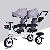 Ambiguity Baby Carriage,Children's Tricycle Twin Stroller Double one-Button Swivel seat Baby Folding Pedal