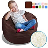 BeanBob Bean Bag Chair for Kids - Foam Filled Bean Bag - Bedroom Furniture & Sofa for Children, 2.5' Brown