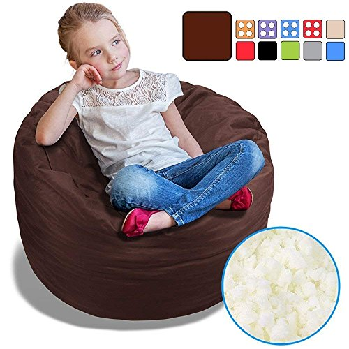 BeanBob Bean Bag Chair for Kids - Foam Filled Bean Bag - Bedroom Furniture & Sofa for Children, 2.5' Brown by BeanBob