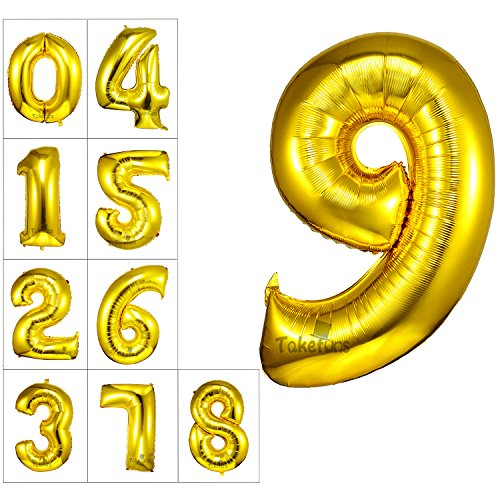 Takefuns 40 Inch Number Letter Balloons Giant Jumbo Helium Foil Mylar Gold Balloons for Birthday Party Wedding Anniversary Decorations,Number 9 (Wishes 9 Helium Mylar Balloons)