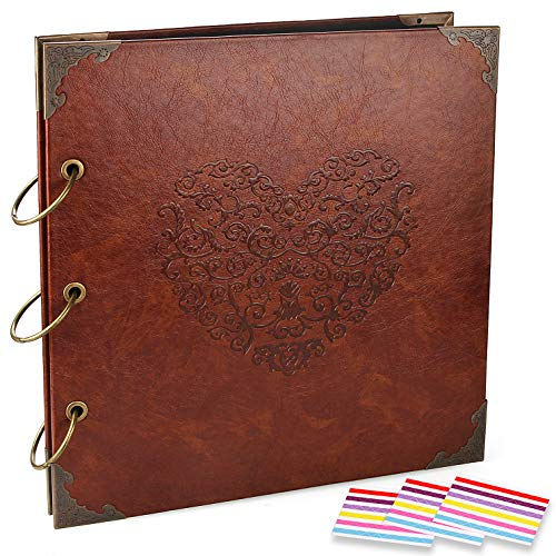 Custom Pages Scrapbook - CenterZ Vintage Photo Album DIY Scrapbook - 10x10 inch 50 Pages Double Sided, PU Leather Cover Three-Ring Binder Picture Booth Albums with 6 Colors 306pcs Self Adhesive Photos Corners for Memory Keep