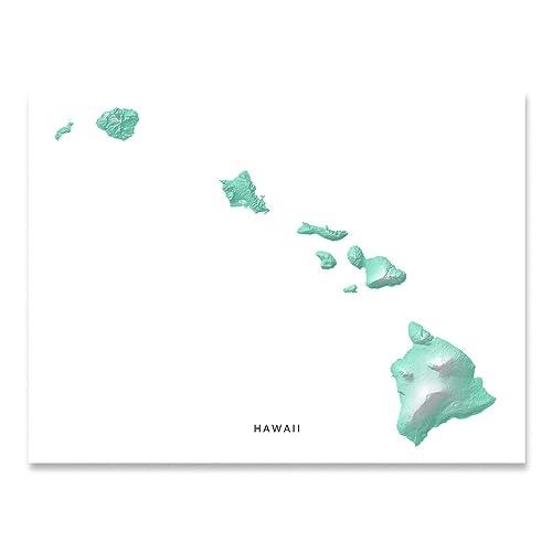Amazon.com: Hawaii Print, Hawaiian Islands Map, Aqua Blue Tropical ...