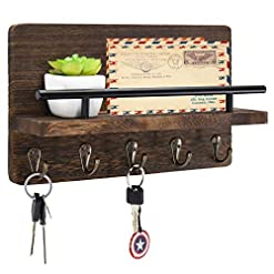 Entryway Mail and Key Holder Organizer Wall Mounted, Rustic Wood Hanging Mail Sorter with 5 Key Hooks, Farmhouse Letter and Bill…