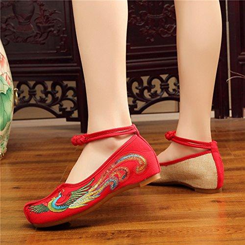 AvaCostume Womens Phoenix Embroidery Flats Cheongsam Dress Shoes Red aBMXXi