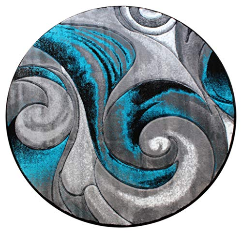 Masada Rugs, Modern Woven Turquoise Round Area Rug, Hand Carved (7 Feet 8 Inch X 7 Feet 8 Inch) Round
