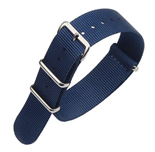 20mm Dark Blue Luxury Exquisite Men's One-Piece Nato style Nylon Perlon Watch Bands Straps (Iwc Mens Band)