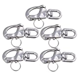 CNBTR 67x39mm Marine 304 Stainless Steel Swivel Jaw Snap Shackle Fixed Bail S-Ring Buckle Set of 5