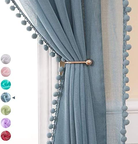 MIULEE Linen Textured Window Sheer Curtains with Pom Pom for Bedroom Living Room Semi Transparent Kids Voile Panels for Light Filtering W 54 x L 108 Inches 2 PCs Dusty Blue