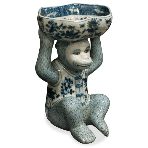 ChinaFurnitureOnline Porcelain Monkey Soap Holder Dish, Hand Painted Floral Blue and White Motif