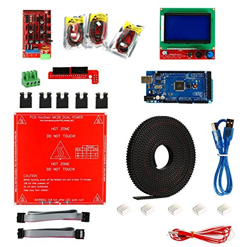 SODIAL 3D Printer Kit,Ramps 1.4 + Mega 2560 + MK2B Heatbed + Controller I3 Suit 12864 by SODIAL