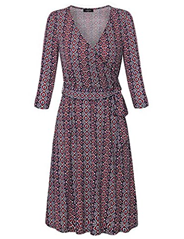 Midi Dress for Women,Laksmi Juniors Vintage Retro A Line Tunic Dress Geometric Pattern Embroidered Casual Wrap Dress with Belt,Red (Dresses With Geometric Pattern)