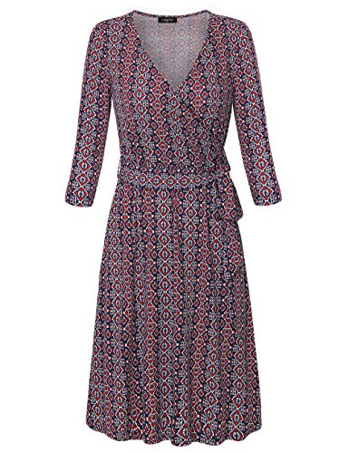 Laksmi Floral Dress, Womens Retro Autumn 3/4 Sleeve V Neck Ethnic Printed Casual A Line Belted Stretchy Knee Length Shift Dress,Red ()