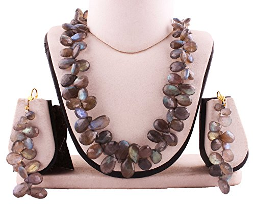 - Neerupam Collection 335 Carat Natural Labradorite Gemstone pear shape Faceted Beads Necklace & Earring Set For Women