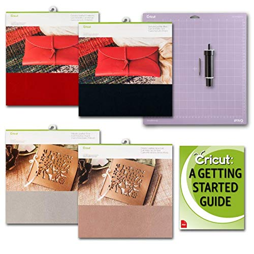Cricut Genuine Red, Black, Silver and Gold Leather Sheets with Blade and Strong GripMat Bundle by Cricut