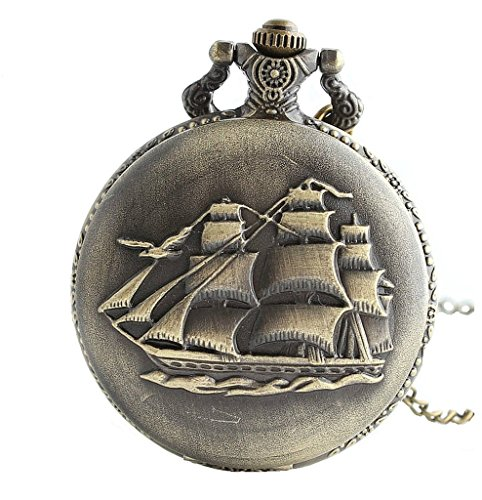 ient Sailboat/Warships/Pirate Ship Pendant Quartz Pocket Watch Long Necklace with Gift Bag for Men/Women ()