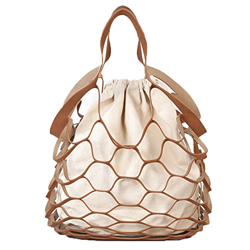 - Nautical Purse Beach Bag Tote Inspired By a Fishnet (Medium, Khaki)