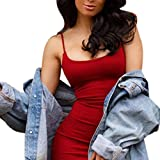 Kstare Women Sexy Solid Sleeveless Bandage Pencil Dress Ladeis Bodycon Evening Short Party Mini Dresses (M - Red)