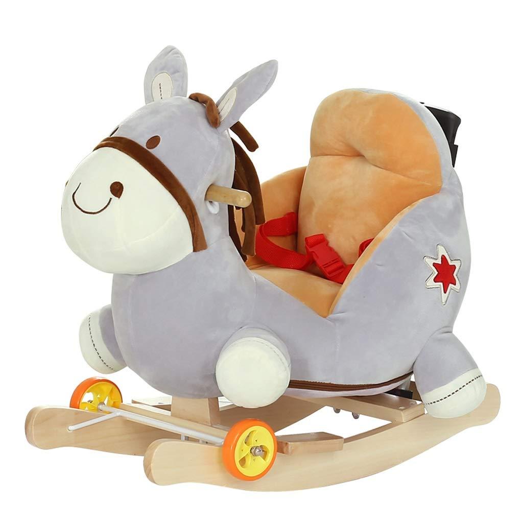 QIQIDEDIAN 赤ちゃんロッキングチェア馬音楽ロッキング馬二重使用大きな子供のおもちゃ小さな木馬   B07KNLRSGF