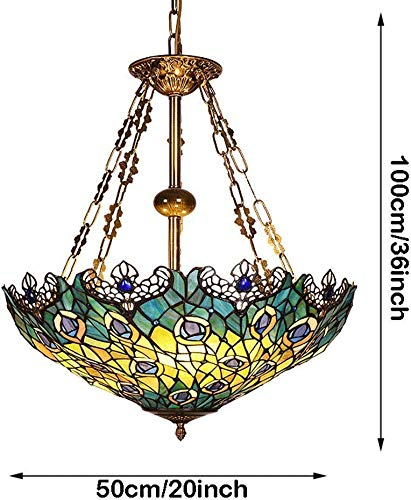 Ceiling Lamp Single Head Chandelier Stained Glass Peacock Pattern Handmade Lampshade Openwork Lace 20 inch 3-Lamp Multipurpose Ceiling Decorative Lamp Chandelier