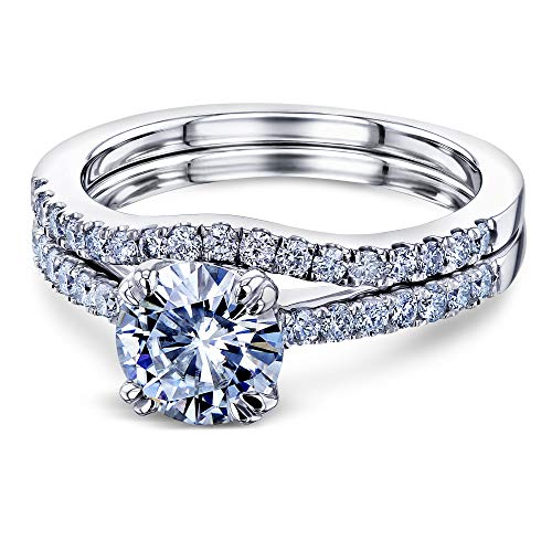 14k Mounting Solitaire White Gold (1-2/5ct.tw Double Prong Solitaire Moissanite and Side Stone Mounting Classic Bridal Rings Set 14k White Gold (DEF/VS, GH/I1-I2), 7)