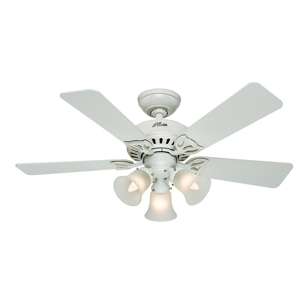 Hunter 53081 The Beacon Hill 42 Inch Ceiling Fan With Five White Light Oak Blades Kit Com