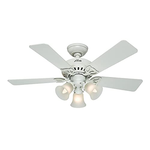 Hunter 53081 The Beacon Hill 42-Inch Ceiling Fan with Five White Light Oak Blades with Light Kit, White