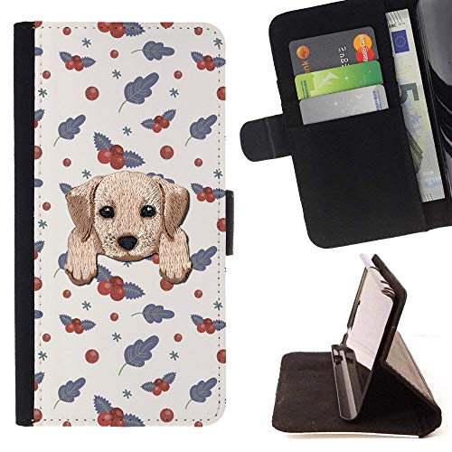 [ Labrador Retriever ] Embroidered Cute Dog Puppy Leather Wallet Case for LG K7 / LG Tribute 5 / LG Escape 3 [ Gray Red Cranberry Pattern ]